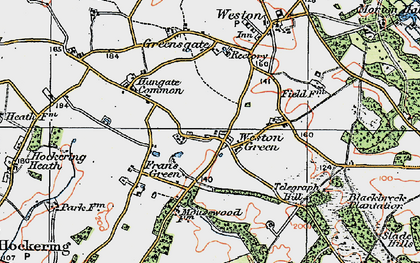 Old map of Weston Green in 1921