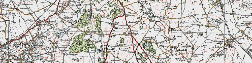 Old map of Weston Heath in 1921