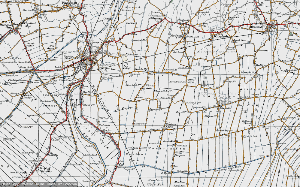 Old Map of Weston Hills, 1922 in 1922