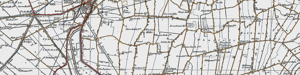 Old map of Weston Hills in 1922