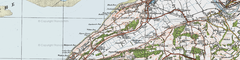 Old map of Weston in Gordano in 1919