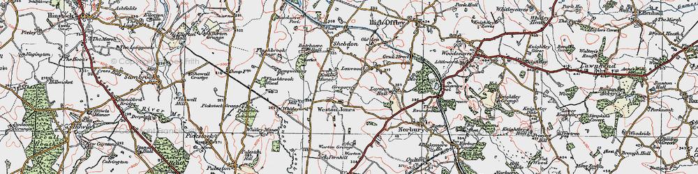 Old map of Weston Jones in 1921