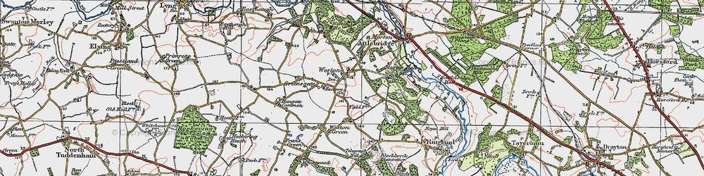 Old map of Weston Longville in 1922