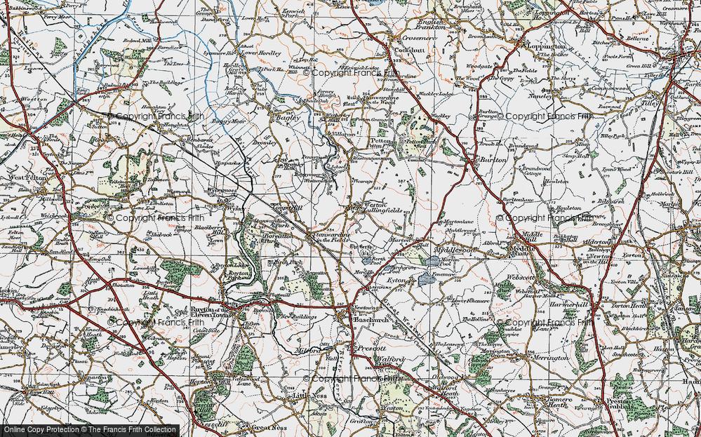 Old Map of Weston Lullingfields, 1921 in 1921