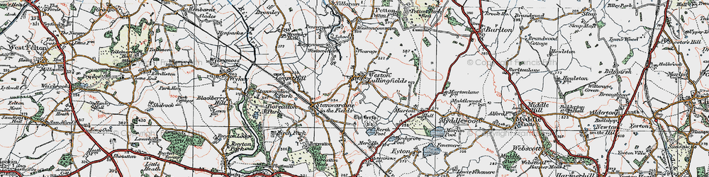 Old map of Weston Lullingfields in 1921