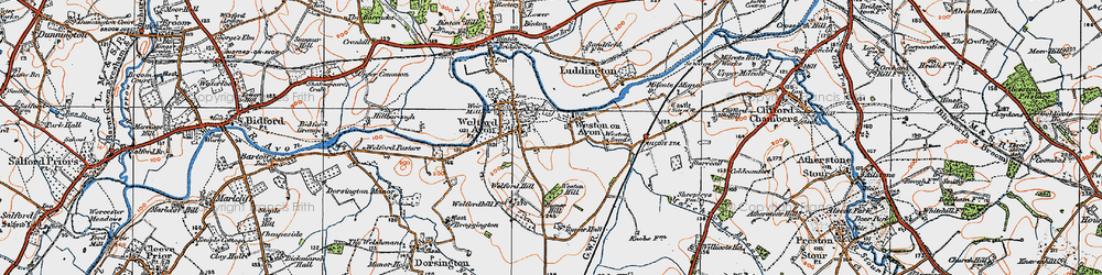 Old map of Weston-on-Avon in 1919