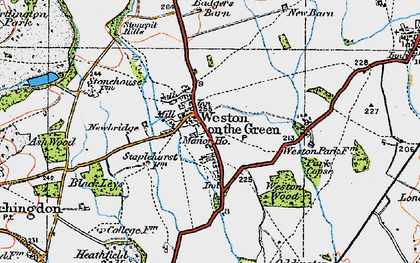 Old map of Weston Wood in 1919