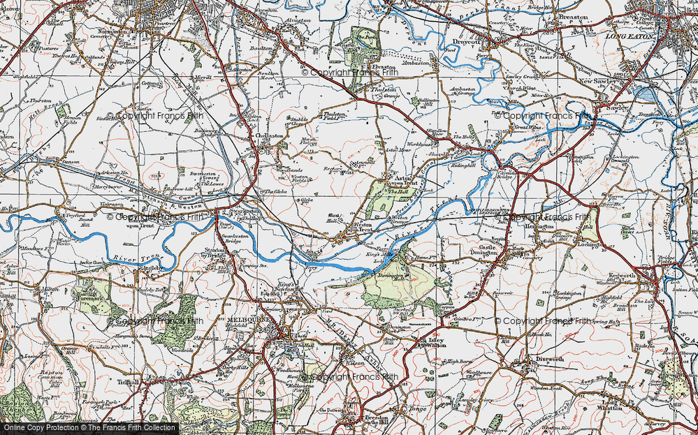 Old Map of Weston-on-Trent, 1921 in 1921