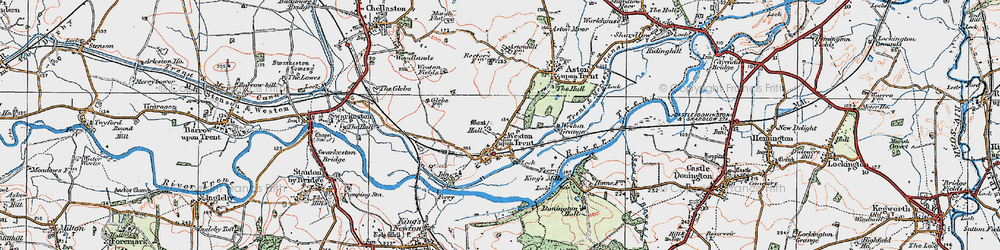 Old map of Weston-on-Trent in 1921