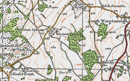 Old map of Weston Patrick in 1919