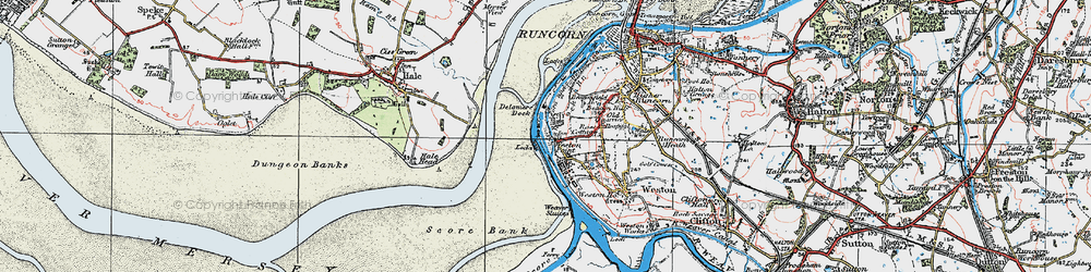 Old map of Weston Point in 1923