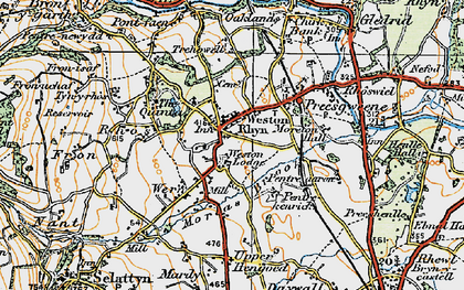 Old map of Weston Rhyn in 1921