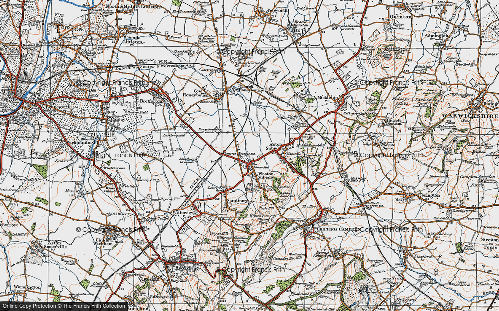 Old Map of Weston-sub-Edge, 1919 in 1919