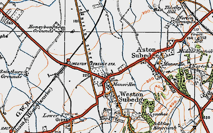Old map of Weston-sub-Edge in 1919