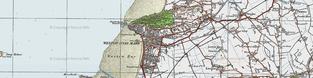 Old map of Weston-super-Mare in 1919