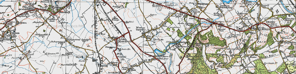 Old map of Weston Turville in 1919