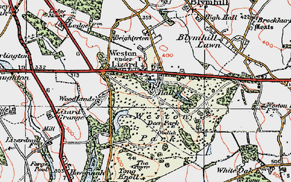 Old map of Weston Under Lizard in 1921