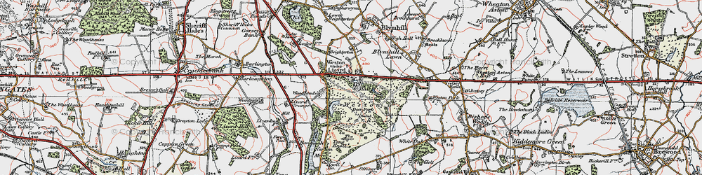 Old map of Weston Park in 1921
