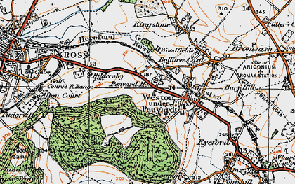 Old map of Weston under Penyard in 1919