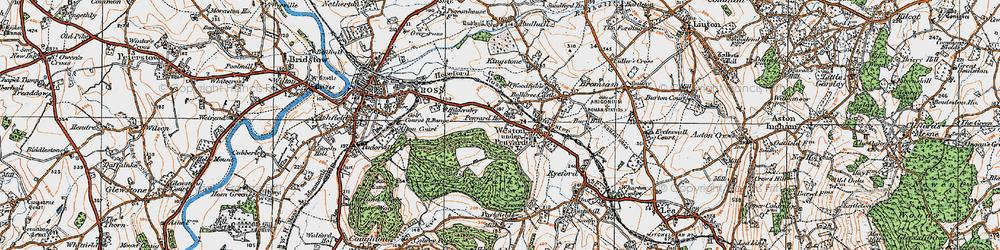 Old map of Weston under Penyard in 1919