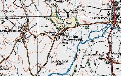 Old map of Weston Underwood in 1919