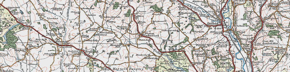 Old map of Weston Underwood in 1921