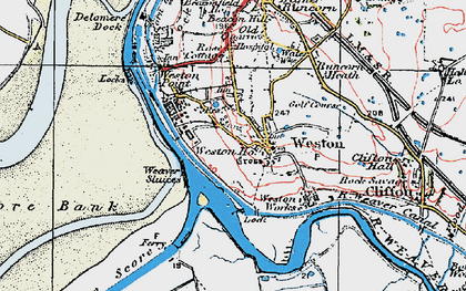 Old map of Weston Village in 1923