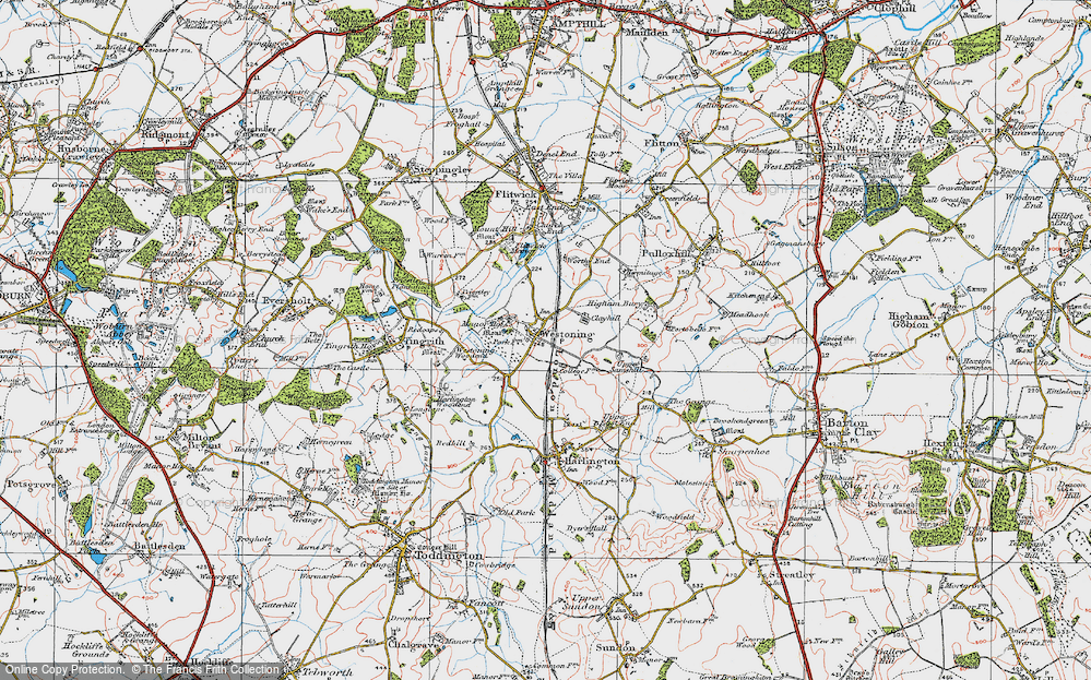 Old Map of Westoning, 1919 in 1919