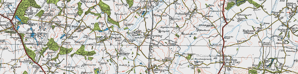 Old map of Westoning in 1919
