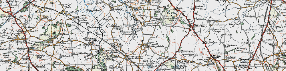 Old map of Weston Ho in 1921