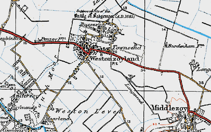 Old map of Westonzoyland in 1919