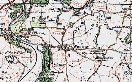 Old map of Westow Low Grange in 1924