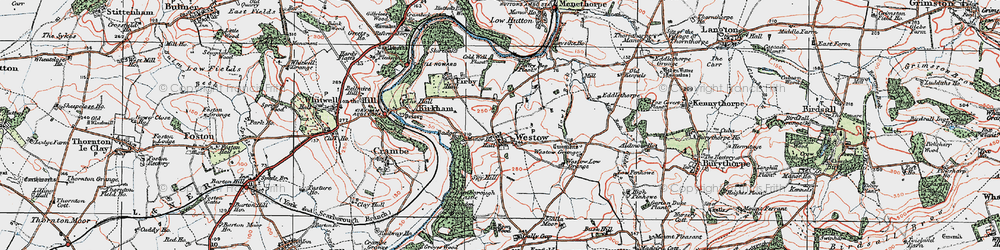 Old map of Westow Grange in 1924