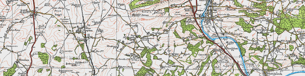 Old map of Westridge Green in 1919