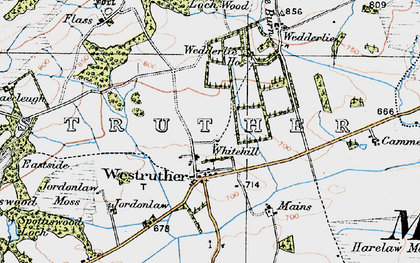 Old map of Westruther Mains in 1926