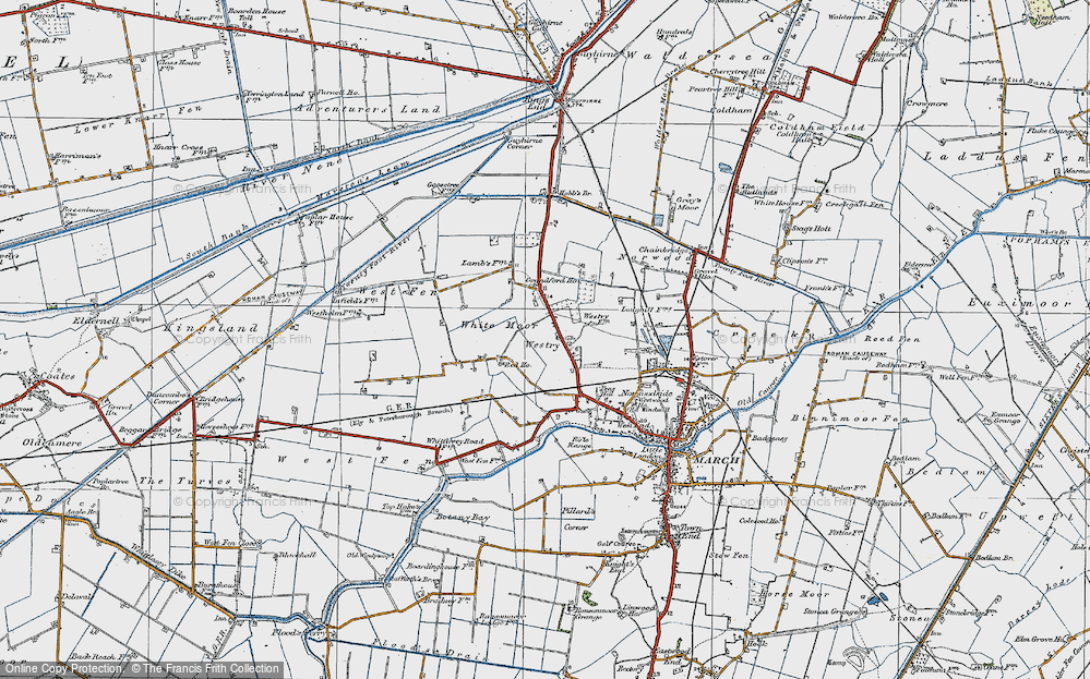 Old Map of Historic Map covering White Moor in 1922