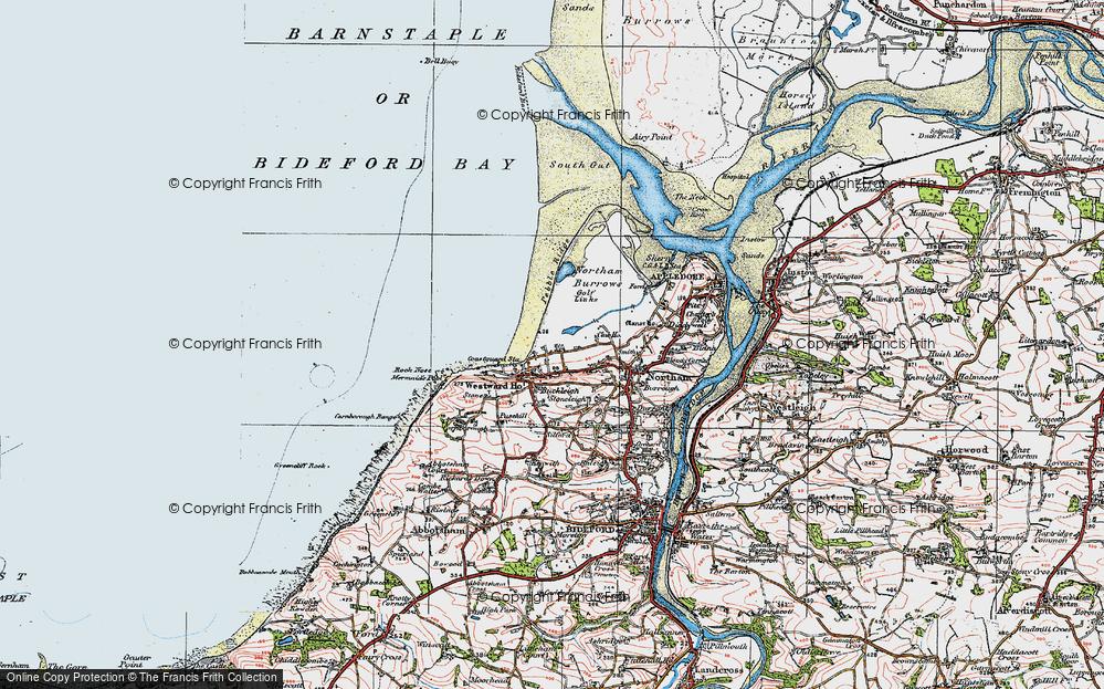 Old Map of Westward Ho!, 1919 in 1919