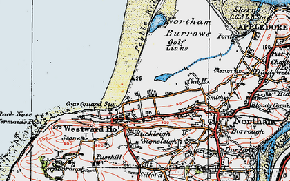 Old map of Westward Ho! in 1919