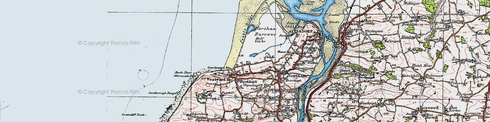 Old map of Westward Ho! in 1919