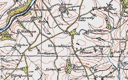 Old map of Westweek Barton in 1919
