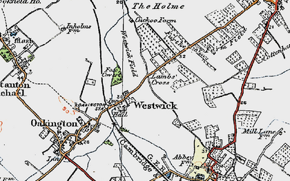 Old map of Westwick in 1920