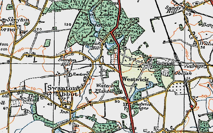 Old map of Westwick in 1922