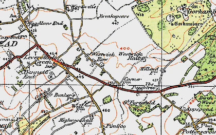 Old map of Westwick Hall in 1920
