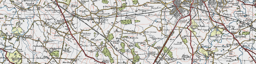 Old map of Westwood Heath in 1921