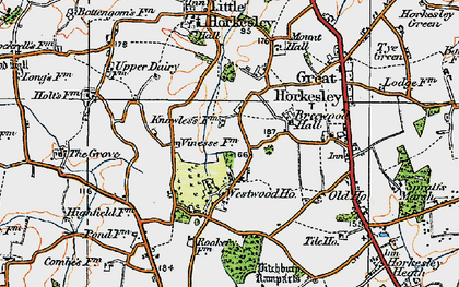 Old map of Westwood Park in 1921