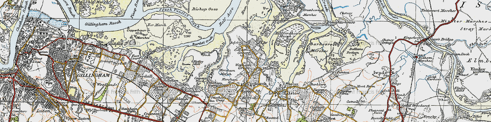 Old map of Wetham Green in 1921