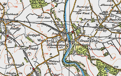Old map of Wetheral in 1925