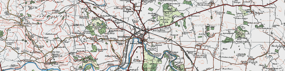 Old map of Wetherby in 1925