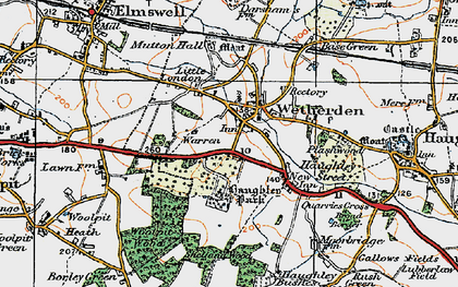 Old map of Wetherden in 1921