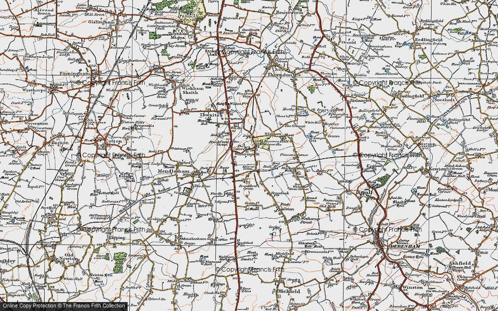 Old Map of Wetheringsett, 1921 in 1921